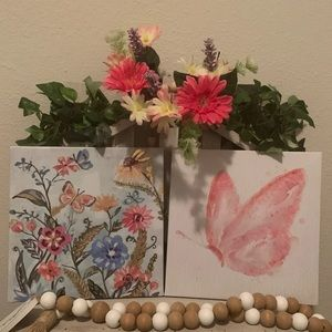 Farmhouse butterfly canvas decor set